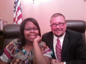 Mike Jones and Megan McKinnley, former foster youth and participant of the Courageous Connection Program, at the State Capitol during the  award ceremony for the Change of a Lifetime Award in 2010